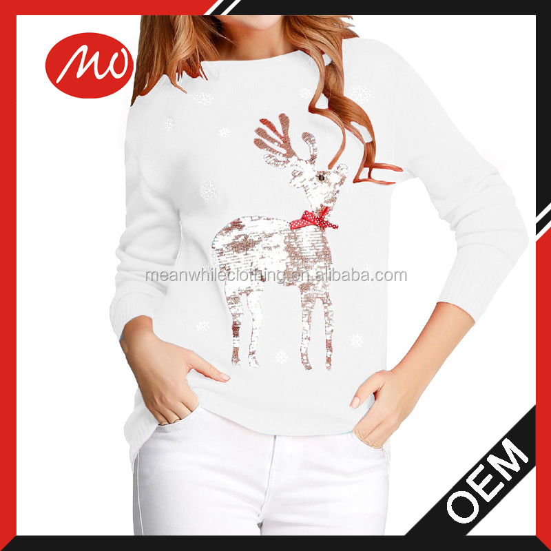Woman sequin reindeer lighted christmas sweaters