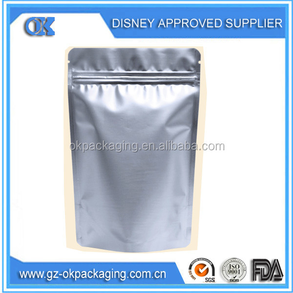 alumium foil zip lock packaging bag/food grade plastic zip lock bag/plastic zip lock stand up pouches