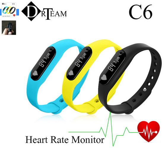 New Smart bracelet C6 Heart Rate Monitor Bracelet Bluetooth 4.0 Pulsometer Passometer Fitness Tracker For Android 4.4 iOS 7.0