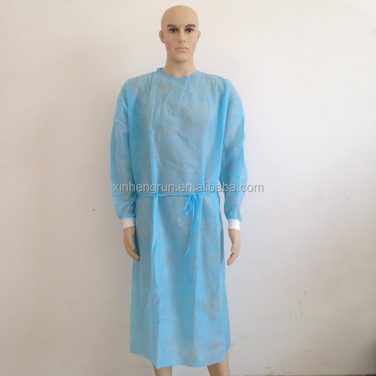 cheap disposable medical gowns blue dental surgical gown with Knit cuff
