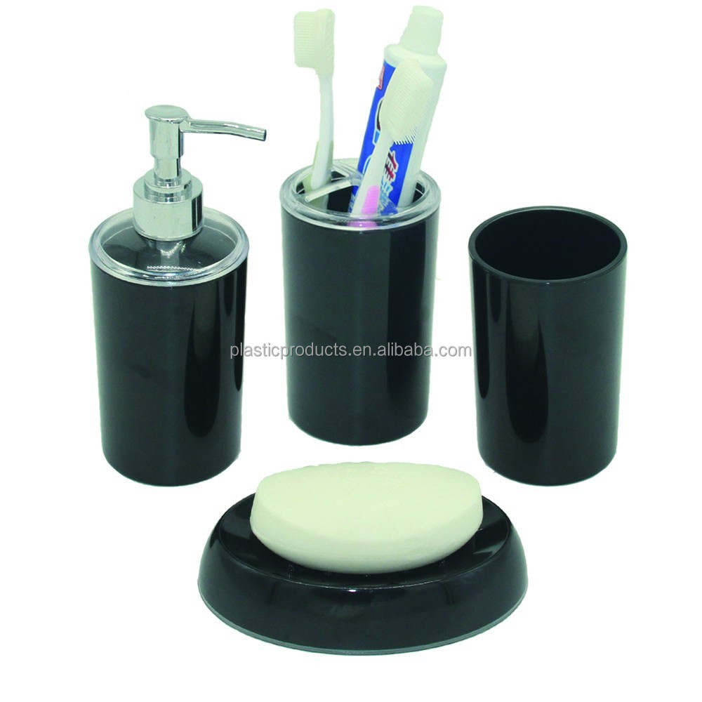 Eco friendly plastic black bathroom accessory sets buy for Black bath accessories sets