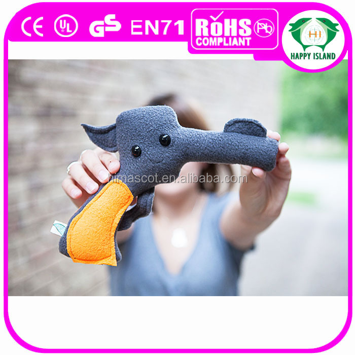 HI OEM design custom plush toy gun plush toy