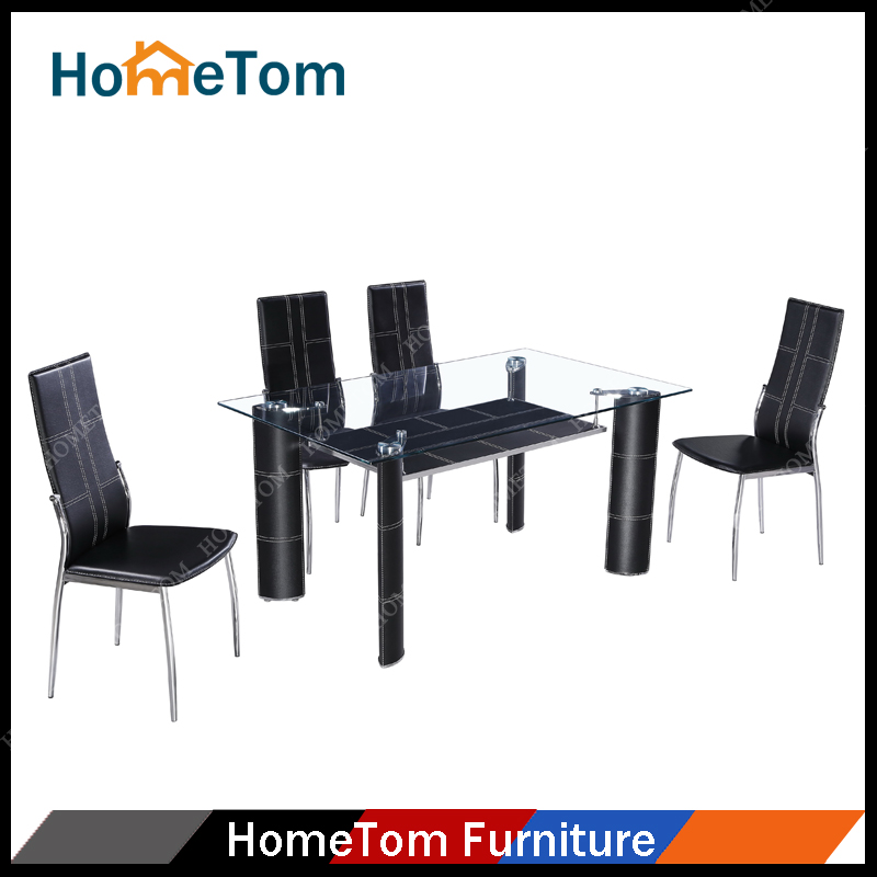 Hometom Tempered Glass Top PVC Covering Metal Leg Rectangular Dining Table