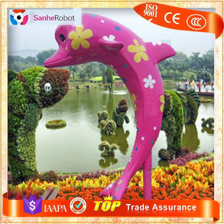 Professional Manufacturer Sale Lovely Cartoon fiberglass dolphin outdoor statues