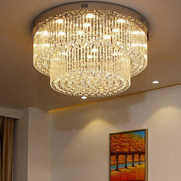 <strong>LED</strong> surface mounted crystal ceiling <strong>lights</strong> fancy round ceiling lamp <strong>lights</strong> for home ETL60357