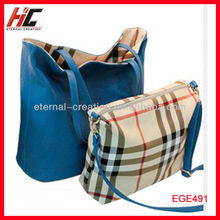 Factory direct sale designer handbags high quality two sides use plaid striped bag