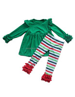 Boutique wholesale christmas children giggle moon remake outfits green smocked dress and stripe ruffle pants kids ruffle clothes