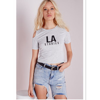 cold shoulder cropped customized design tee shirt