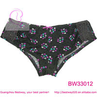 Sexy images fashion hipster printed floral with lace & bow hipster panties