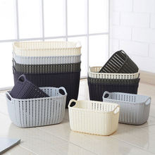Rattan Plastic Laundry Basket With Handles