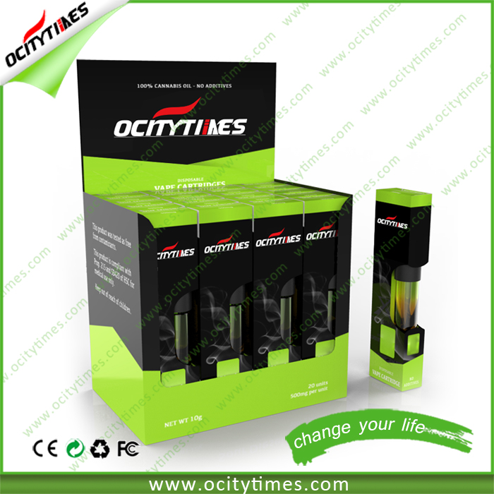 Ocitytimes vape cartridge refill .6ml oil cartridge vaporizer 510 thread disposable vaporizer 510 vape cartridge packaging