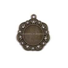 Fashion Chic Antique color Plated Trays Zircon Jewelry Charms in Zinc Alloy Bezel Pendants Blanks Base Settings