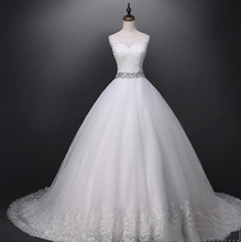 New style Elegant A-line Sweetheart Chiffon Tulle Plus Size Court Train white wedding dress Bridal Gown TS76