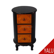 Round design vintage bedroom nightstands with 3 drawers H-16041