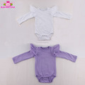 Baby Rompers carters brand clothes playsuit custom stretch cotton bodysuit solid color baby long sleeve tulle ruffle romper