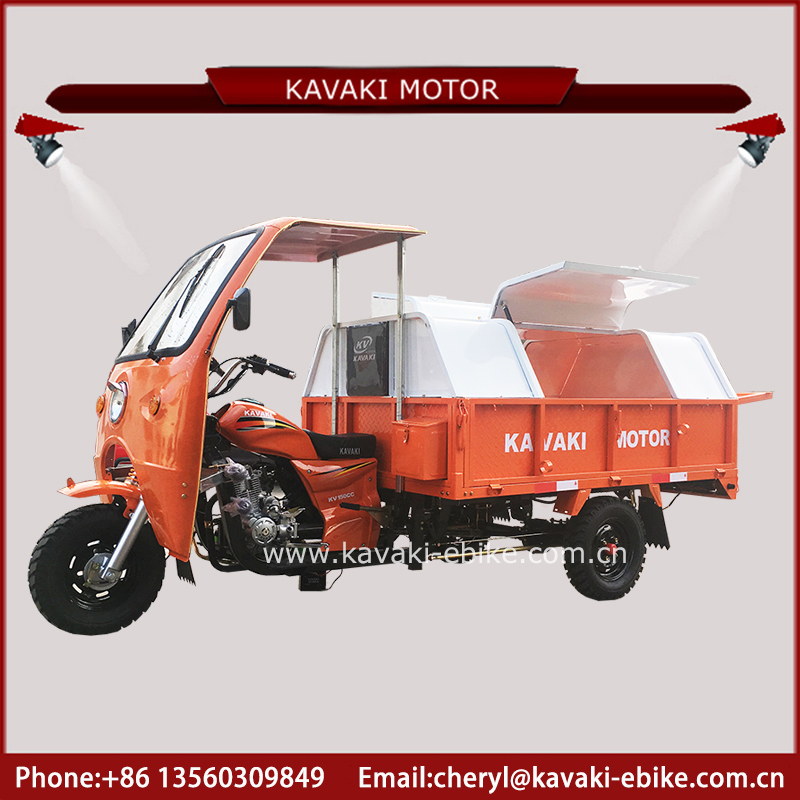 Myanmar Model encolse cargo box garbage motor tricycle 150cc air engine with jack spare tire reflective stickers