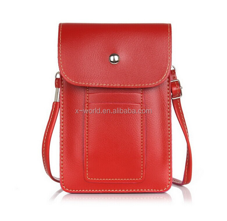 Universal PU Leather Mobile Phone Shoulder Bag Universal Smartphone Leather Pouch Case