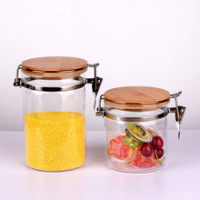 Customized Hermetic Airtight Round Glass Jar With Metal Clamp And Bamboo Lid For Food