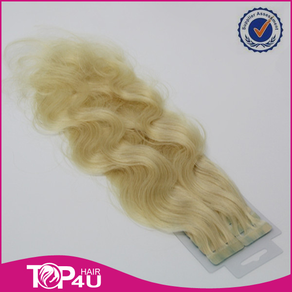 Russian natural blonde wavy curly tape hair extensions