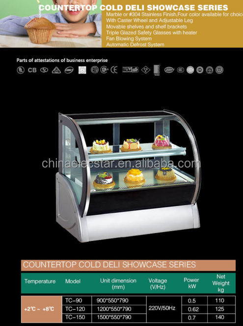 Compact Design Cake Display Fridge Curved Glass Display