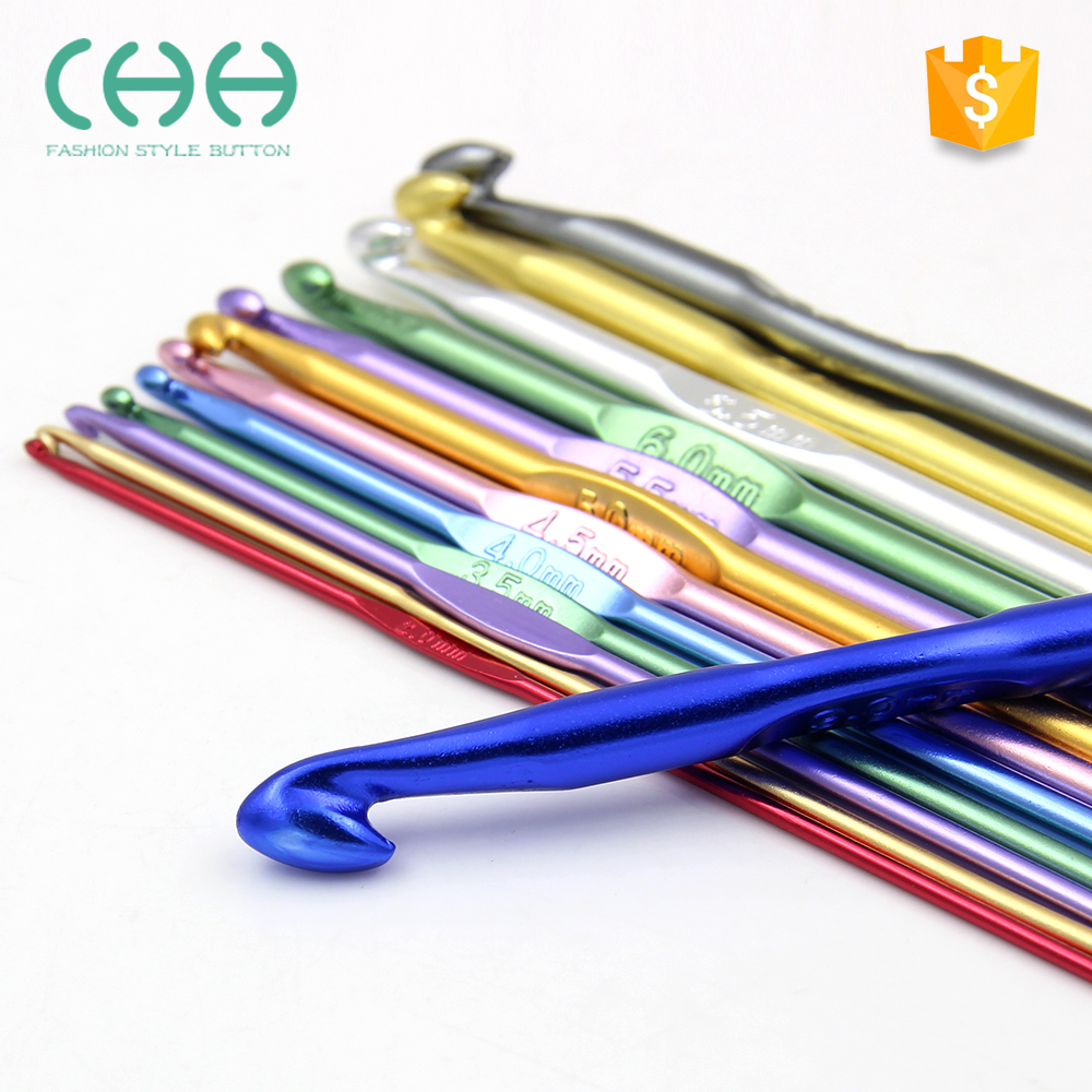 Wholesale knit sweater tool DIY colorful aluminum crochet hook