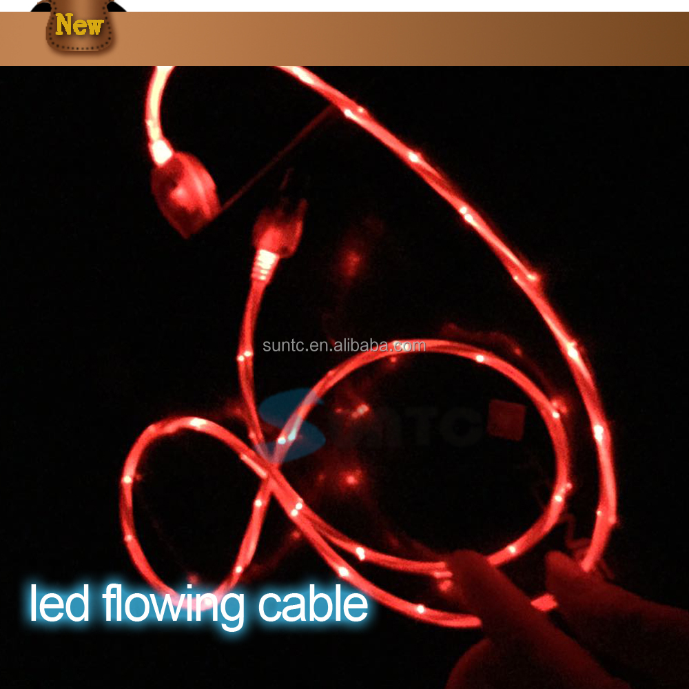 Flowing led glow micro USB charging data sync cable for android mobile phones