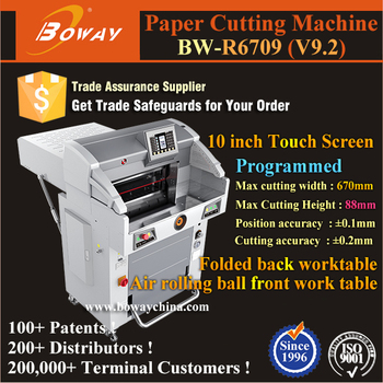1000 sheets 670mm 10'' Touch Screen Hydraulic Programmed Paper Cutter