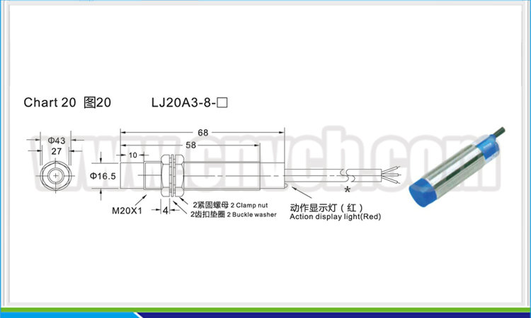 PXS20 LJ20A3-8 M20 non-screen shield AC or DC NO/NC/NONC 8mm detection distance proximity switch