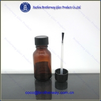 1/2oz amber cosmetic glass bottle with black brush cap