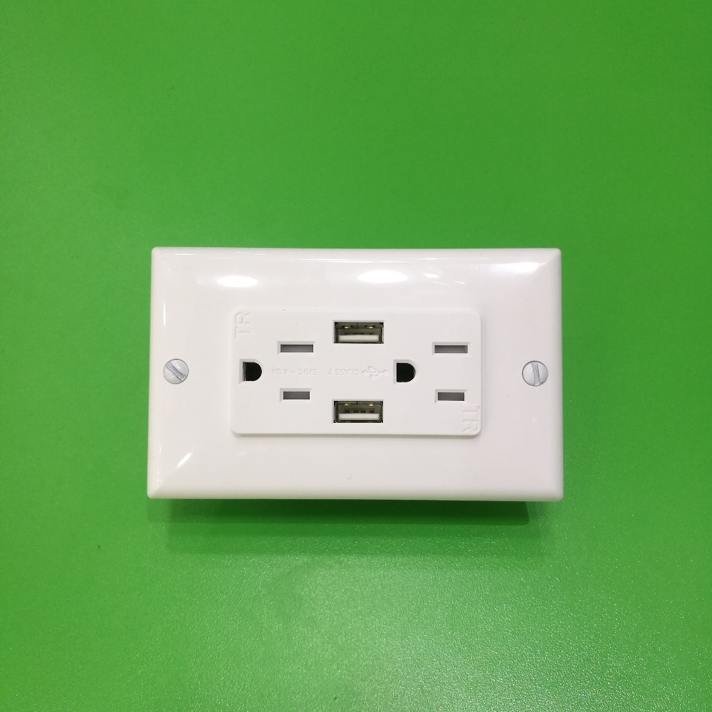 US Type Electric usb wall Outlet/socket with 15 Amp 125V Tamper-Resistant Duplex Receptacle