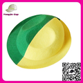 Big Size Custom Made High Quality Cheapest roll up brim party hat World Cup Yellow Fedora Hats