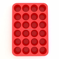 Silicone Mini Muffin Pan and Cupcake Maker 24 Cup, Multi-use Commercial Grade Bakeware
