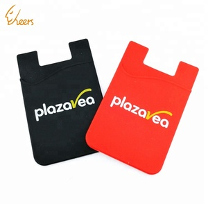 Custom adhesive 3m sticky mobile phone cellphone smart silicone card holder