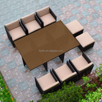 Hot Sale 10 Seater Space Saving Outdoor Patio Rattan Dining Chair Table  Sets Garden Funiture