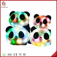 Different size lovely glow toy plush panda glow in the dark stuffed cartoon doll soft animal shaped body pillow