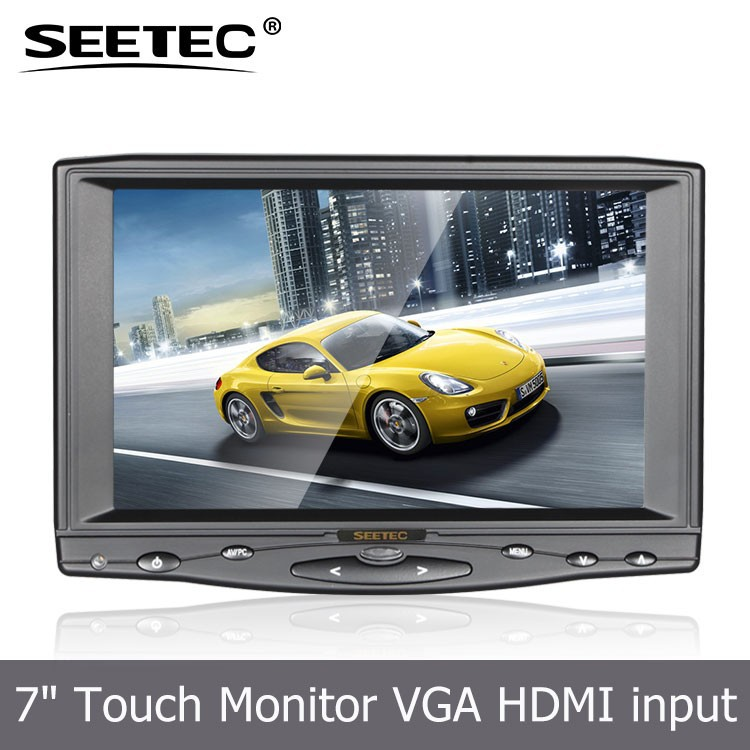 Small 7 inch USB resistive touchscreen car tft lcd monitor with HDMI VGA input led backlight