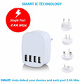 New 5V 4.5A US EU UK AU KR Plug 4 port usb wall charger power adapter with kc saa ce certificatiom