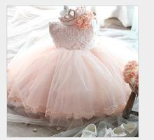 High Quality Baby Girl Dress bowknot Christening 1 year Birthday Dress For Baby Girl 2016 Kid Lace Princess Tutu Dresses