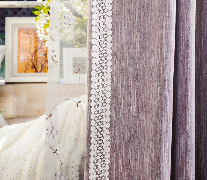 white lace purple color cotton curtain for home