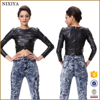 PU leather sexy office lady blouse fashion sexy blouse