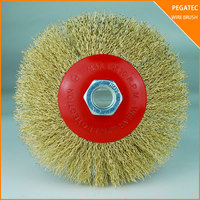 PEGATEC 115MM bevel brass wire brush for rust removal