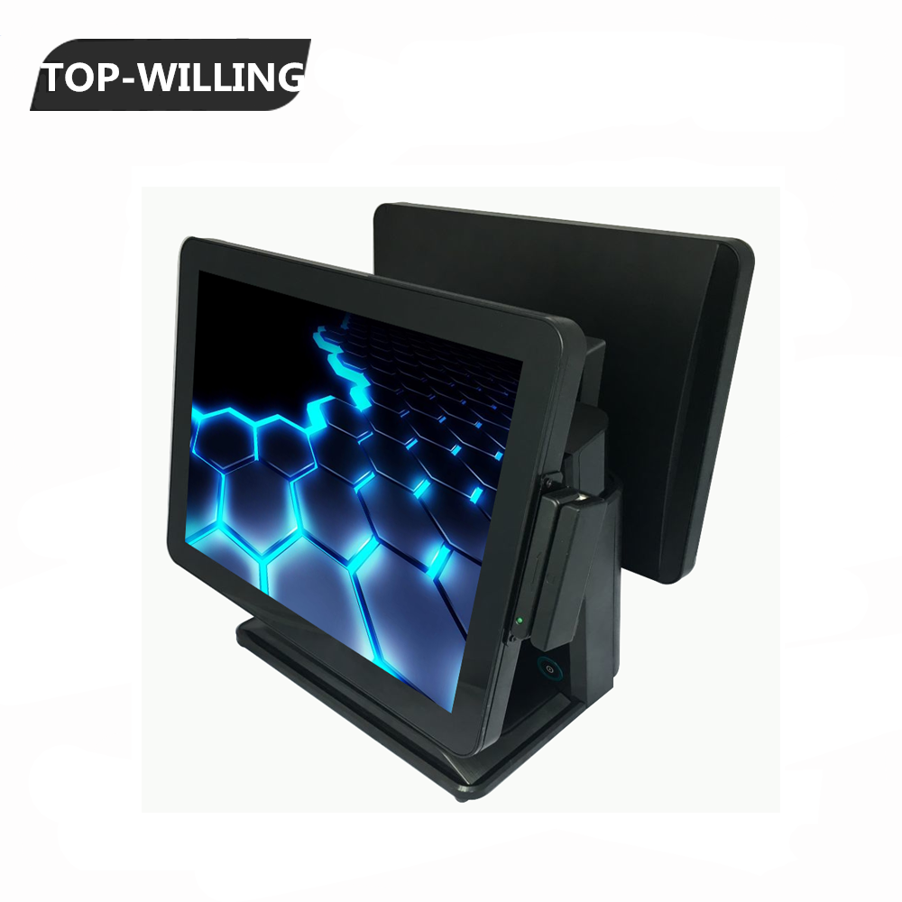 "TDD151POS 15 inch Dual Screens Capacitive Touch Screen POS Systems with MSR Card Reader 15"" Customer Display"