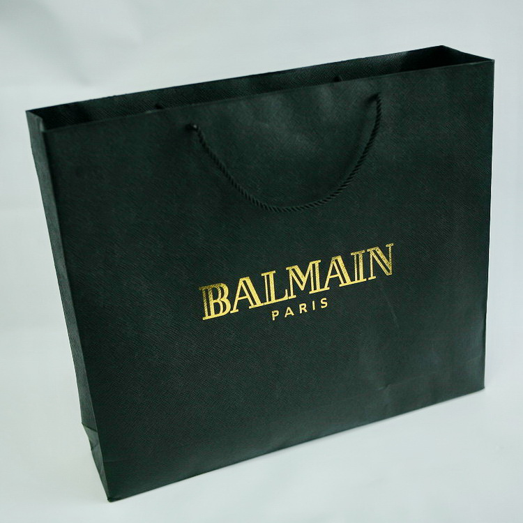 luxury paper bag black paper garment bag with black carton rope handle