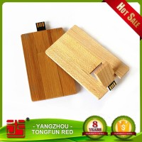 2016Hot selling eco wood credit card bulk usb flash drive