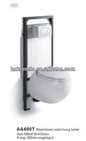 HTWT-0327 round bowl two piece toilet wall mounted flush tank