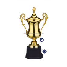 Electroplating golden metal cup trophy
