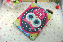 Protective tablet leather painted owl cartoon wallet stand case for iPad 2 3 4
