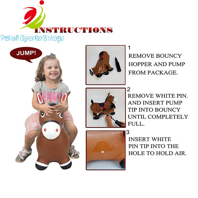 Wholesale Kids Favorite Jumping Animal Toys inflatable Bouncy Horse PVC ECO Friendly Material for outdoor play gym