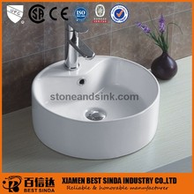 Advanced above counter round porcelain sink