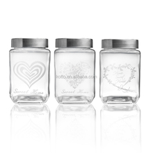 800ml Square glass storage jar with stainless lid and print